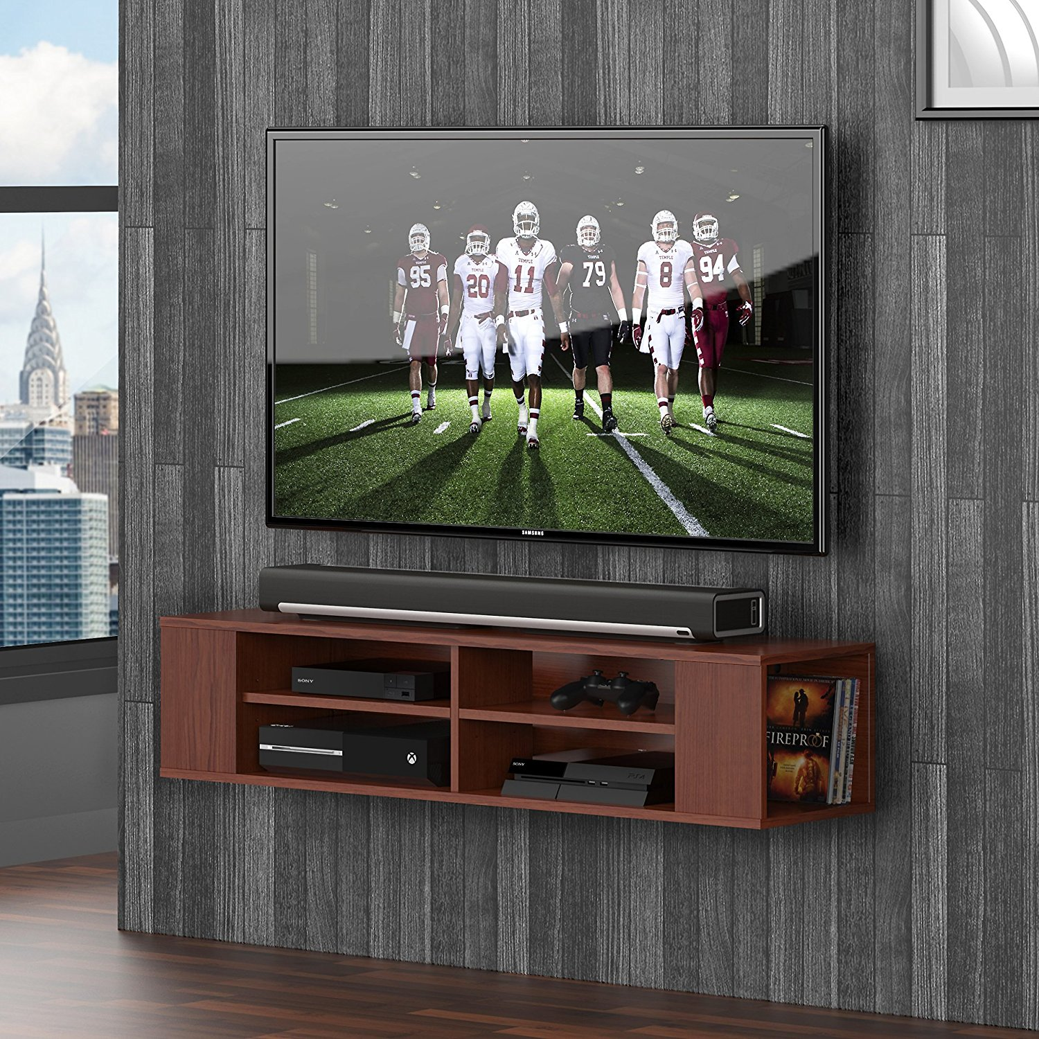 FITUEYES Wall Mounted Media Console Universal TV Stand for Sumsung sony Flat
