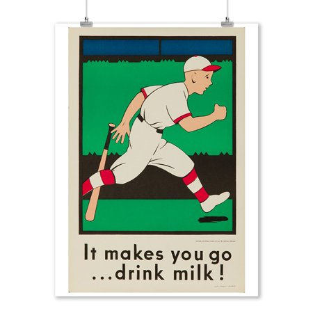 It makes you go drink milk! (baseball) Vintage Poster (artist: Deacon) USA c. 1920 (9x12 Art Print, Wall Decor Travel Poster)](Vintage Halloween Photos 1920)