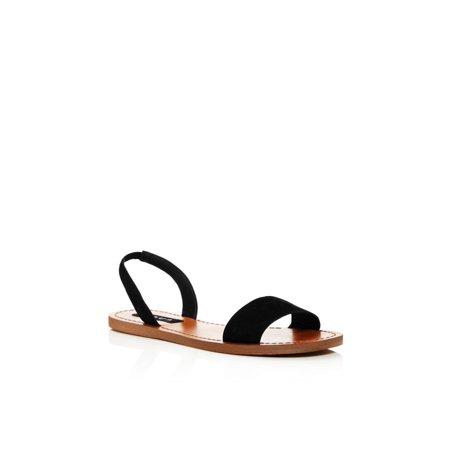 Aqua Leather - Aqua Womens Cece Leather Open Toe Casual Slingback Sandals, Black, Size 9.0