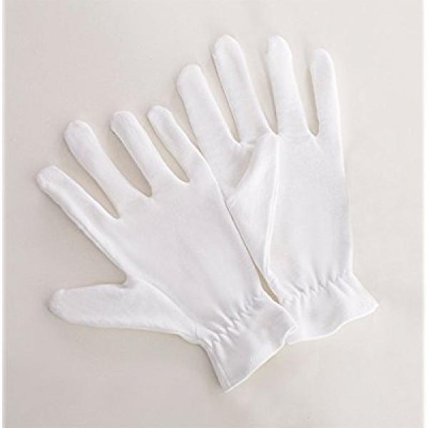 20 Medium White Cotton Gloves For Dry & Sensitive Skin or Eczema - Thick Reusable Hand Protection With Wrist Band Seals In Moisturizer