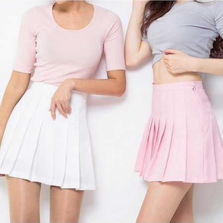 Women High Waist Zip Slim Tennis Plain Skater Pleated Short Skirts School Girls Mini Skirt (Pleats V-neck Skirt)
