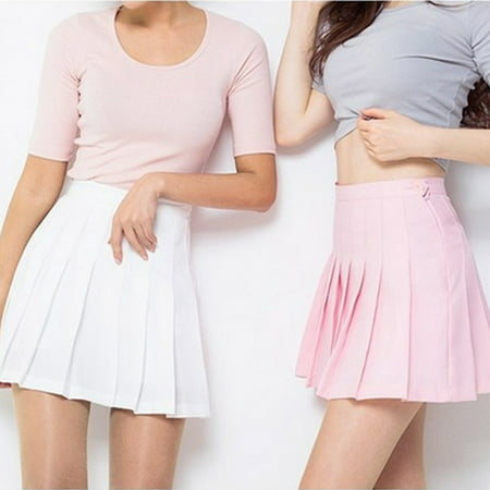 - Women High Waist Zip Slim Tennis Plain Skater Pleated Short Skirts School Girls Mini Skirt