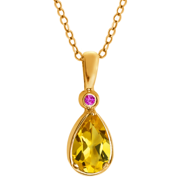 0.66 Ct Pear Shape Yellow Citrine Pink Sapphire 14K Yellow Gold Pendant by