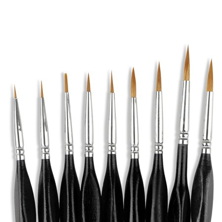 Pointed-Round Paintbrush Set, 9 Pieces Round Pointed Tip Sable Hair Artist Detail Paint Brushes Set for Fine Detailing & Art Painting, Acrylic Watercolor Oil, Nail Art, Miniature Painting