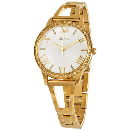 Guess Lucy Quartz Crystal Silver Dial Ladies Watch (Guess The Designer)