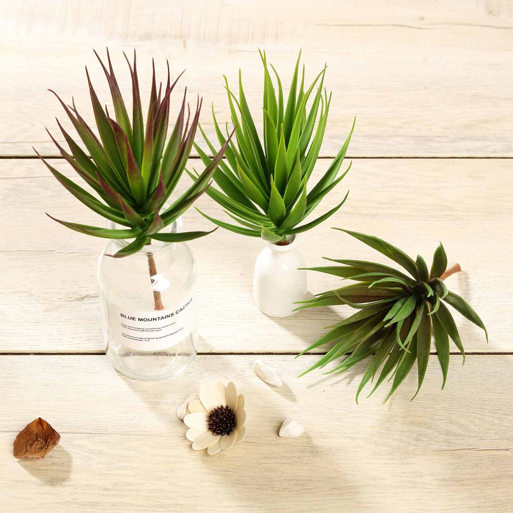 "Efavormart Set of 3 | 8"" Assorted Artificial Succulent Plants Aloe Cactus Picks Mini Green Plants"