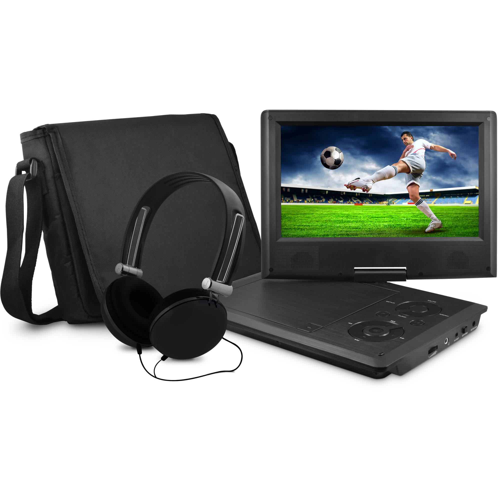 "Onn by Walmart 9"" portable dvd player with matching headphones and bag"
