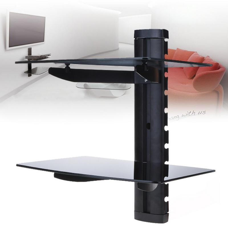 2 Tiers Wall Mount Bracket TV Stand With Glass Shelves For TV  Components,Black,
