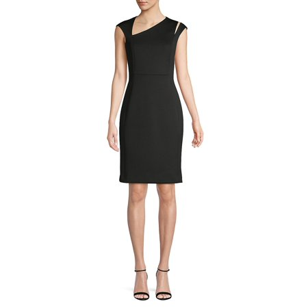 Asymmetrical V-Neck Sheath Dress Anne Klein Black Dress