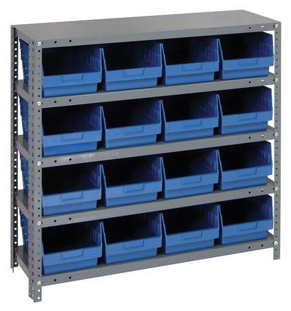 Bin Shelving, Solid, 36X12, 16 Bins, Blue QUANTUM STORAGE SYSTEMS 1239-207BL