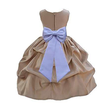 Ekidsbridal Champagne Satin Pick-Up Flower Girl Dress Toddler Girl Dresses Junior Bridesmaid Dress Pageant Gown Birthday Girl Dress Communion Dress Baptism Dress Christening Dress Daily Dresses 208T (Next Christening Dresses)
