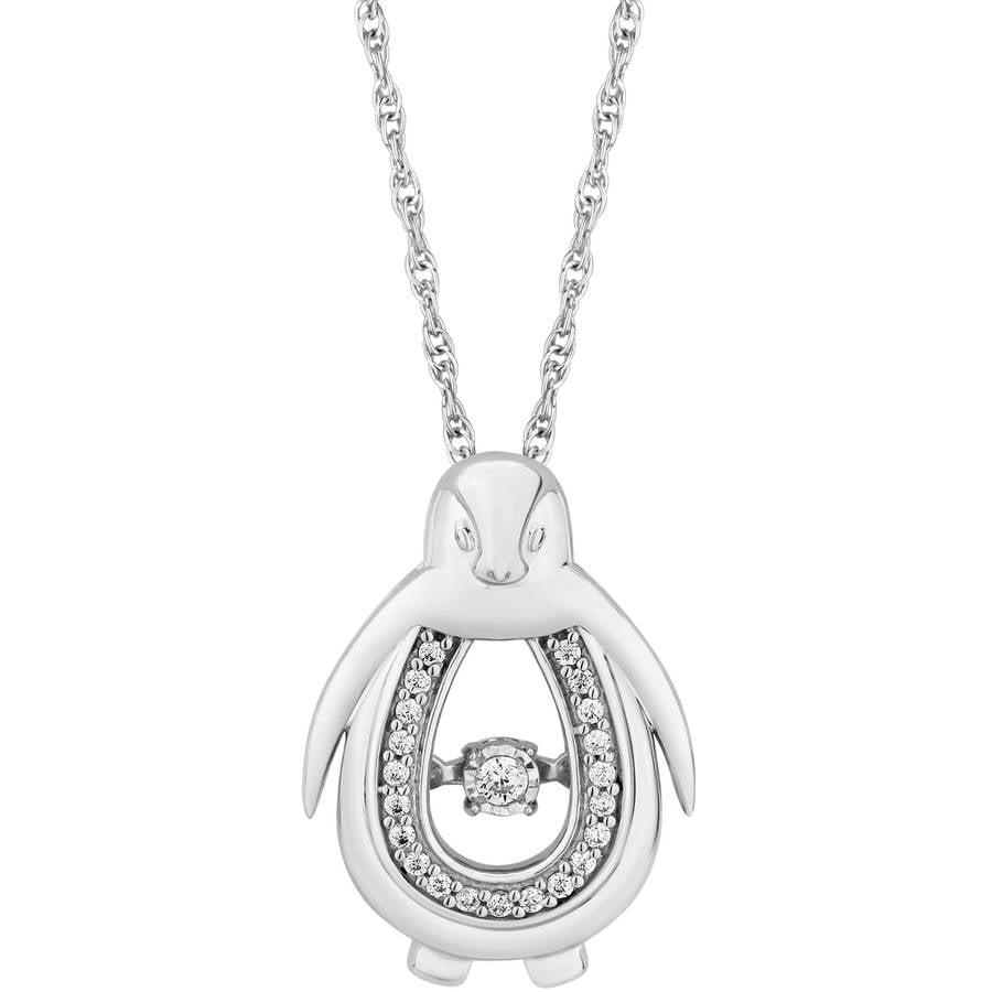 "Carina 1/10 Carat T.W. Diamond Sterling Silver Twinkling Penguin Pendant, 18"""