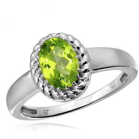Peridot Gemstone Mom Ring (0.82 Carat T.G.W. Peridot Gemstone Ring)