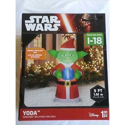 5' Airblown Inflatable Yoda with Present Star Wars Christmas Inflatable
