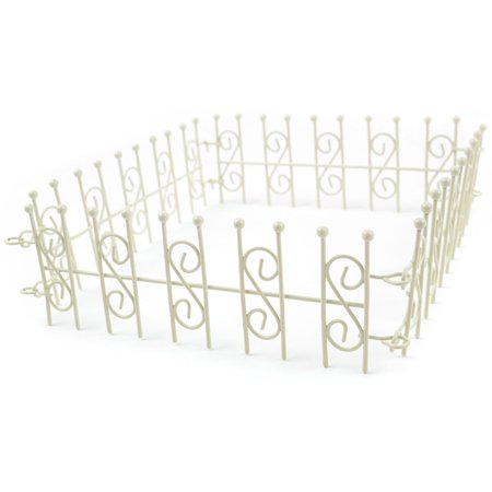Mini Iron Fairy Garden Fence, Cream, Durable, iron crafted items By Touch of Nature