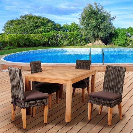 Image of Amazonia Alto 5 Piece Rectangular Dining Set with Cushions
