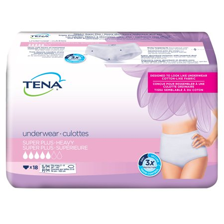 Large Super Absorbent Underwear (Tena Incontinence Underwear For Women, Super Plus Absorbency, Small/Medium, 18 Count)