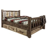 Montana Woodworks MWHCSBFSLLZBEAR Homestead Storage Bed with Laser Engraved Bear Design, Stain & Clear Lacquer - Full Size