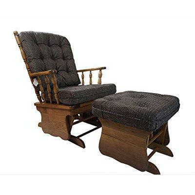 Peachy Solid Oak Glider Rocker Chair W Ottoman W Light Brown Inzonedesignstudio Interior Chair Design Inzonedesignstudiocom