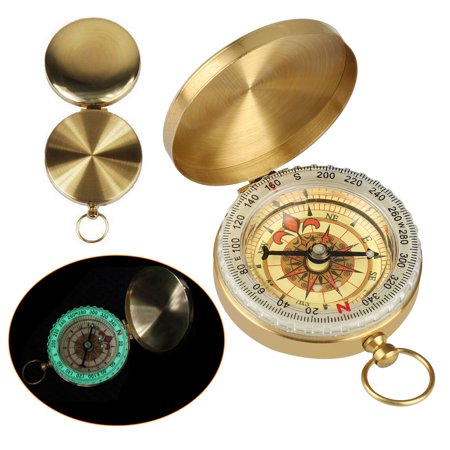 Hook Pocket Compass Portable Metal Brass Glow in Dark Compass Navigation for Camping Hiking Hunting Outdoor
