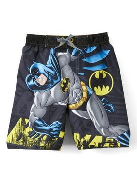 Batman Big Boys' Batman Logo Swim Trunks - Gray/Yellow/Blue