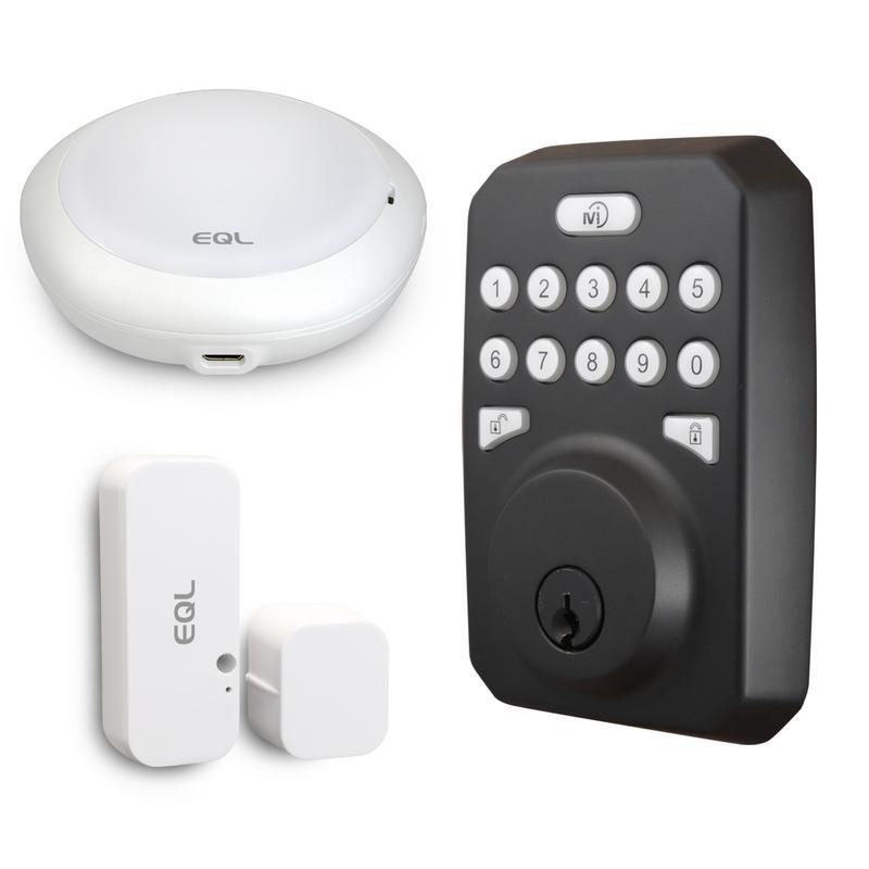 MiEQ Smart HUB, Deadbolt Lock, & Door Sensor Combo, Oil-Rubbed Bronze Finish (Mieq-OBSNHB)