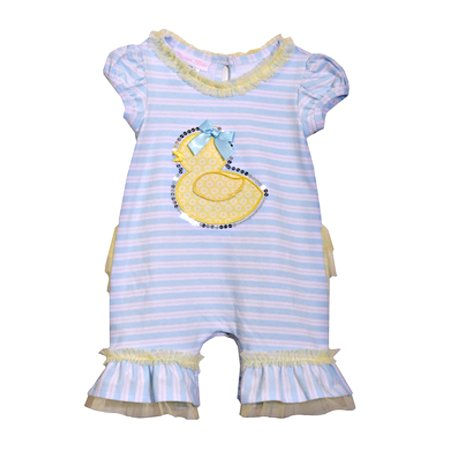 Newborn Baby Girls Cute Blue Stripped And Ruffled Duckie Coverall 0-3
