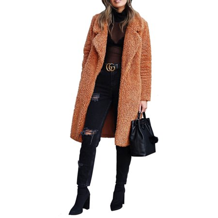 Women Thick Warm Teddy Bear Faux Fur Long Outwear Fleece Jacket Coat Overcoat Open Front Long Cardigan Female Lamb Wool Lapel Coat Overcoat Tops Womens Faux Fur Coats