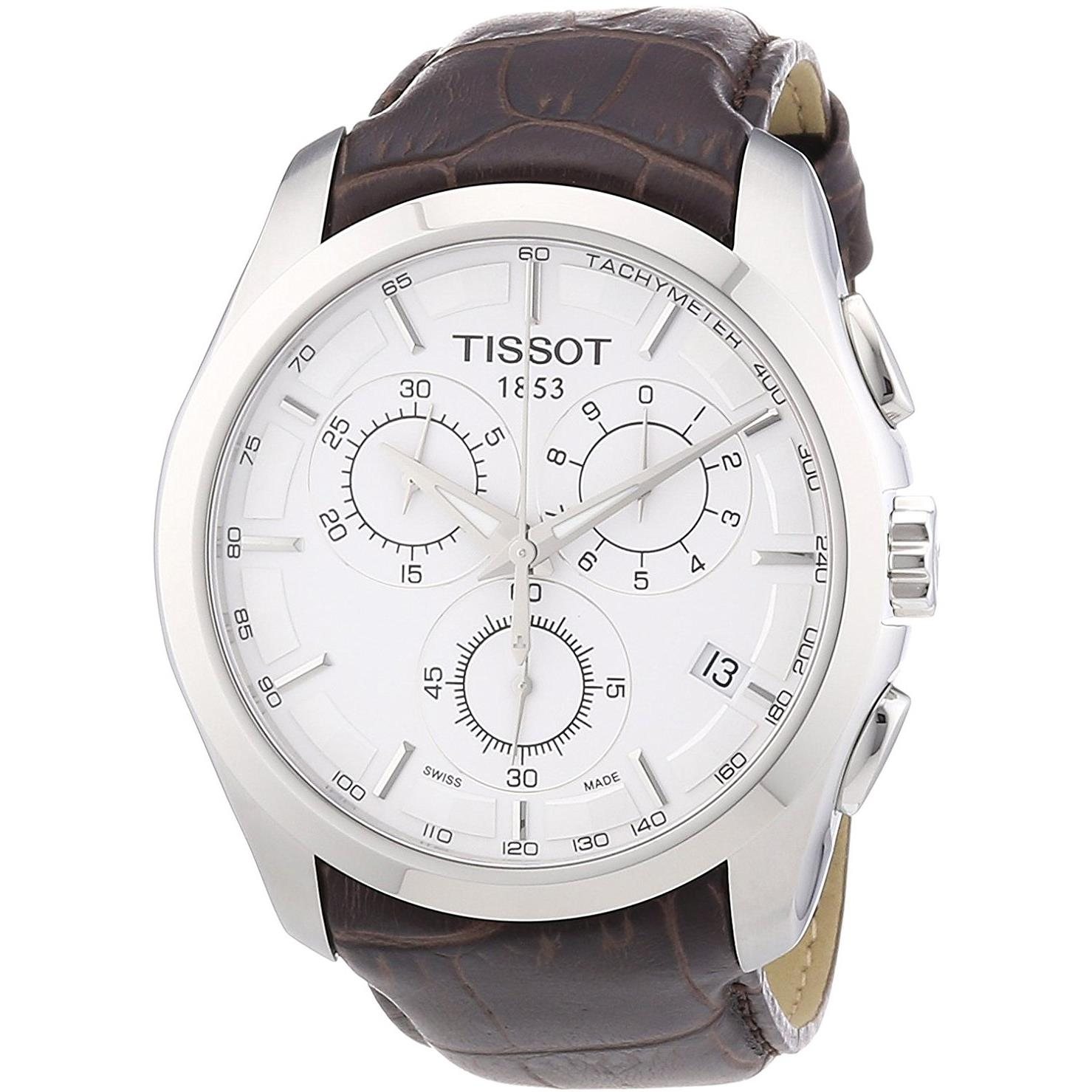 Tissot Men's 41mm Brown Leather Band Steel Case Swiss Qua...