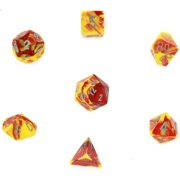 Chessex Polyhedral 7-Die Gemini Chessex Dice Set - Red & Yellow With Silver CHX-26450