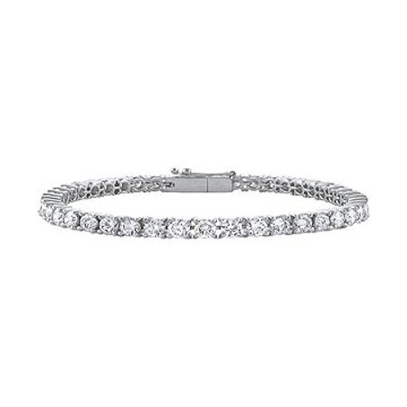Cubic Zirconia Tennis Bracelet in 14K White Gold 3 CT TGW- April Birthstone Jewelry - image 1 of 2