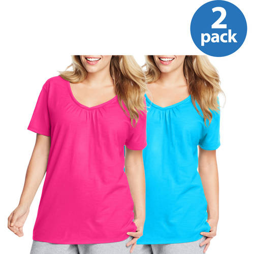 Just My Size Women;s Plus-Size Slub Shirred V-Neck- 2-pack Value Bundle
