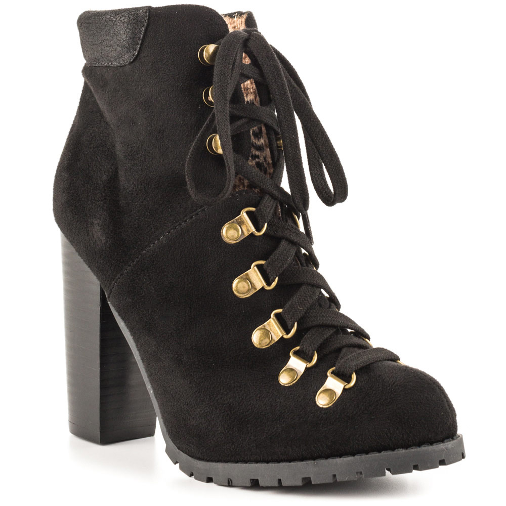 Luichiny Anna may IMI Suede Lug Sole Lace Up Combat Stacked heel Ankle Booties (6, Black) by