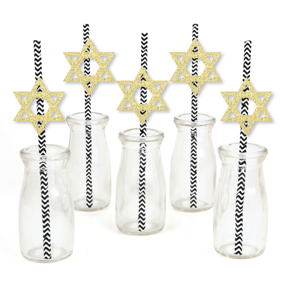 Gold Glitter Star of David Party Straws - No-Mess Real Gold Glitter Cut-Outs & Decorative Hanukkah Paper Straws - Set of