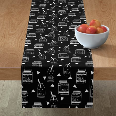 Image of Table Runner Milk And Cookies Milk Black And White Milk Jug Milk Cotton Sateen