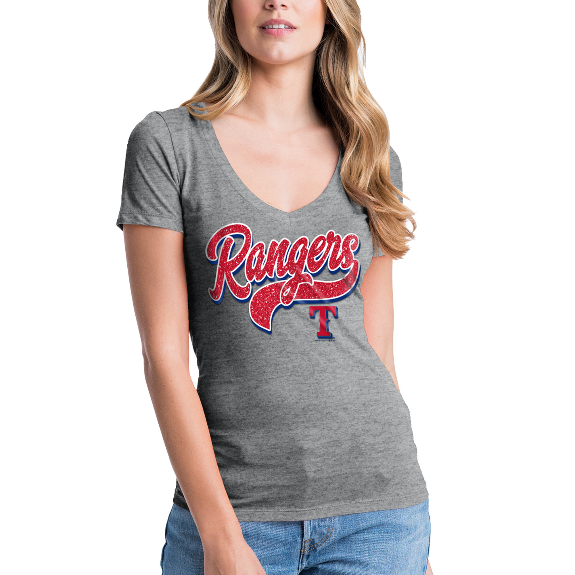 Women's New Era Heathered Gray Texas Rangers Glitter Logo V-Neck T-Shirt