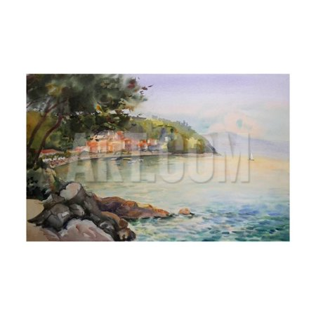 Watercolor Painting of the Seascape in Croatia, near by City of Rijeka. Print Wall Art By - Seascape Watercolor