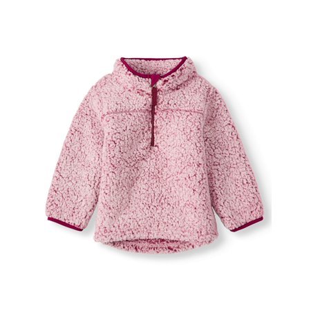 Girls Sherpa Lined Jacket (Wonder Nation Mock Neck Quarter Zip Boucle Lined Sherpa Jacket (Toddler)