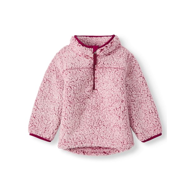 Wonder Nation Toddler Girl Mock Neck Quarter Zip Boucle Lined Sherpa Jacket
