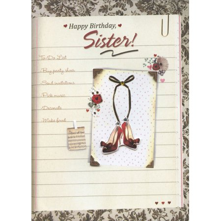 - Designer Greetings To Do List with Gems, Tip On Shoes and Gold Foil Handmade: Sister Birthday Card