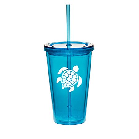 16oz Double Wall Acrylic Tumbler Cup With Straw Sea Turtle (Light-Blue)
