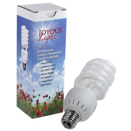 alzo 27w joyous light full spectrum cfl light bulb 5500k, 1300 lumens, -