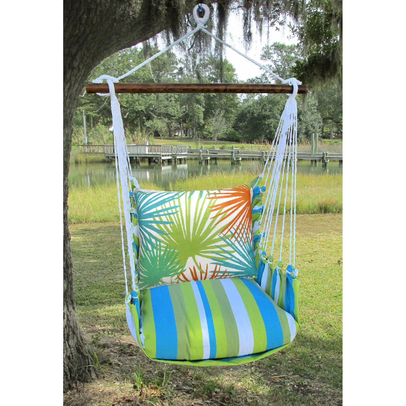 Magnolia Casual Beach Boulevard Outdoor Hammock Chair Set with Pillow