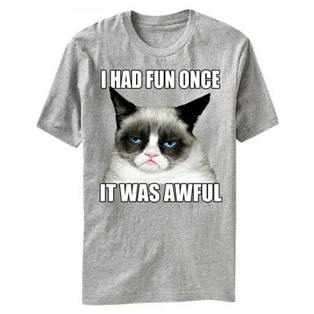 Grumpy Cat I Had Fun Once It Was Awful Adult T-Shirt Tee (Grumpy Cat Halloween)
