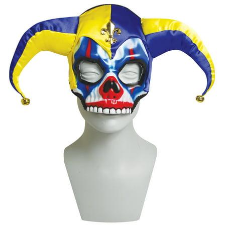 Mardi Gras Jester Joker Clown Skull Half Mask With Hat Bells Halloween - Clown Joker Mask