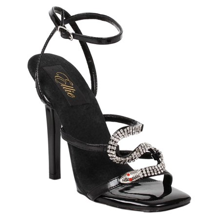 d6326a03fb1a SummitFashions - Black Rhinestone Snake Sandals 5 Inch Heel Womens Sexy  Shoes With Ankle Strap - Walmart.com