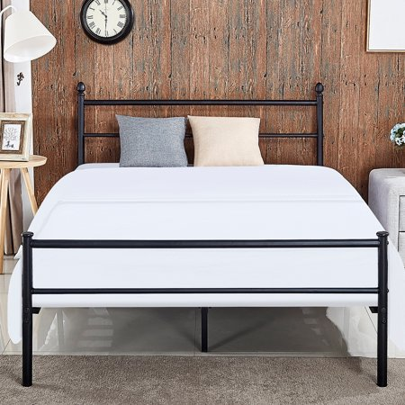 Metal Platform Queen Bed Frame Box Spring Replacement W Headboard