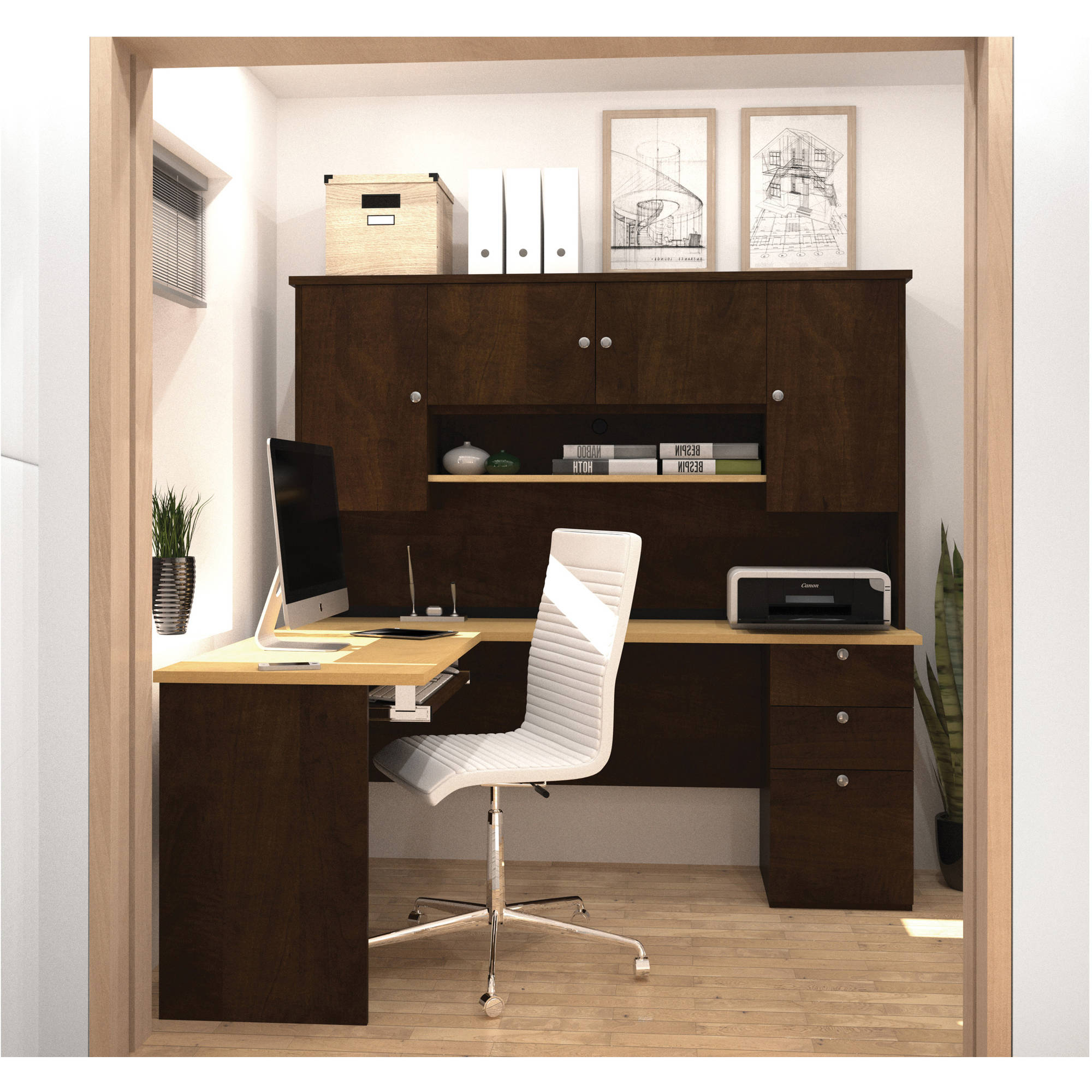 Bestar Manhattan L-Shaped Workstation in Secret Maple and Chocolate