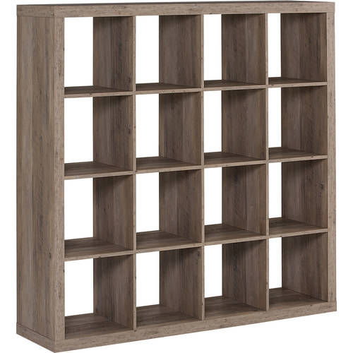 Storage Cube Organizer Rustic Gray Bookcase 16 Cubbies Shelves Closet  Furniture