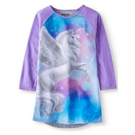 Girl's Unicorn Long Sleeve Nightgown